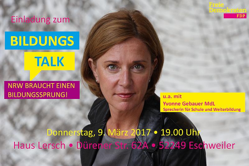 Einladung zum Bildungs-Talk mit Yvonne Gebauer